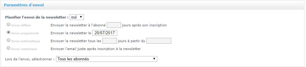 Newsletter : paramètres d'envoi